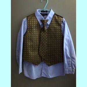 NWT boys Caldore blue & green shirt, vest & tie, 6